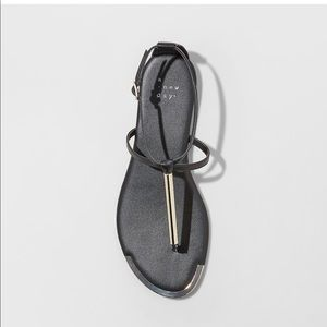 A New Day T strap thong sandals black
